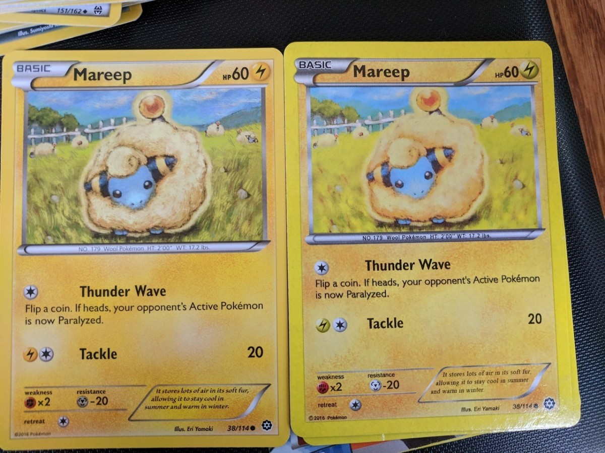 A legitimate Pokémon card on the left compared to a fake Pokémon card on the right.  Note the over saturation of colors in the fake Pokémon card. Image from user jadeazora on Tumblr.