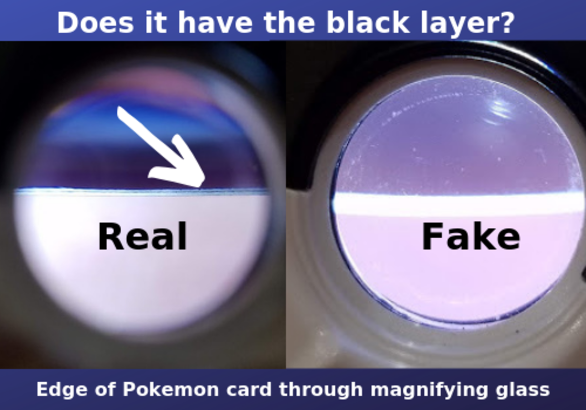 Look at the edge of the card to find the black ink layer, present in every Pokémon card. Image by Jess Searcy.