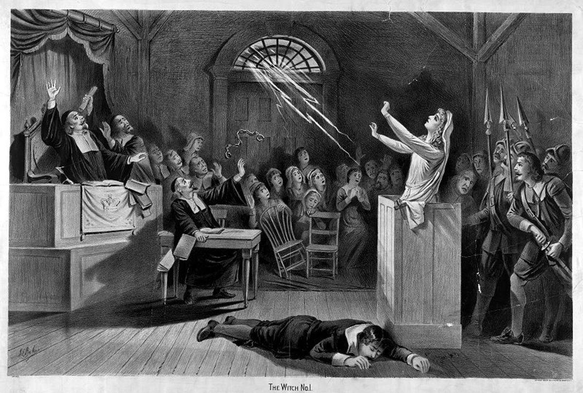 In this lithograph, a witch on trial in Salem, Massachusetts summons lightning to break off her handcuffs and strike down an inquisitor.