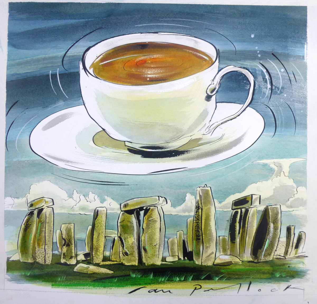 """Illustration by Ian Pollock: """"The Holy Grail is a cup of tea!"""" http://www.ianpollock.co.uk/"""