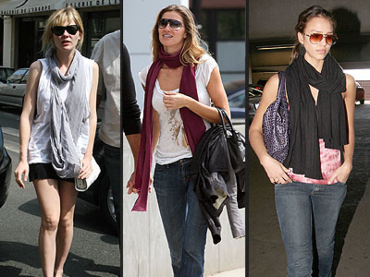 Hollywood loves scarves! The long, rectangular scarf worn in different styles by Kirsten Dunst, Gisele Bundchen and Jessica Alba