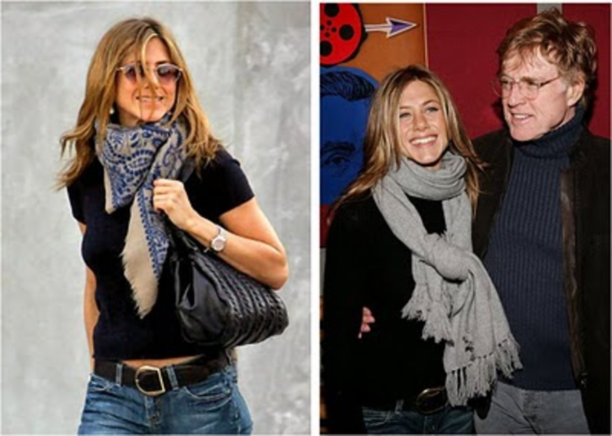 Jennifer Aniston sporting the casual square scarf look