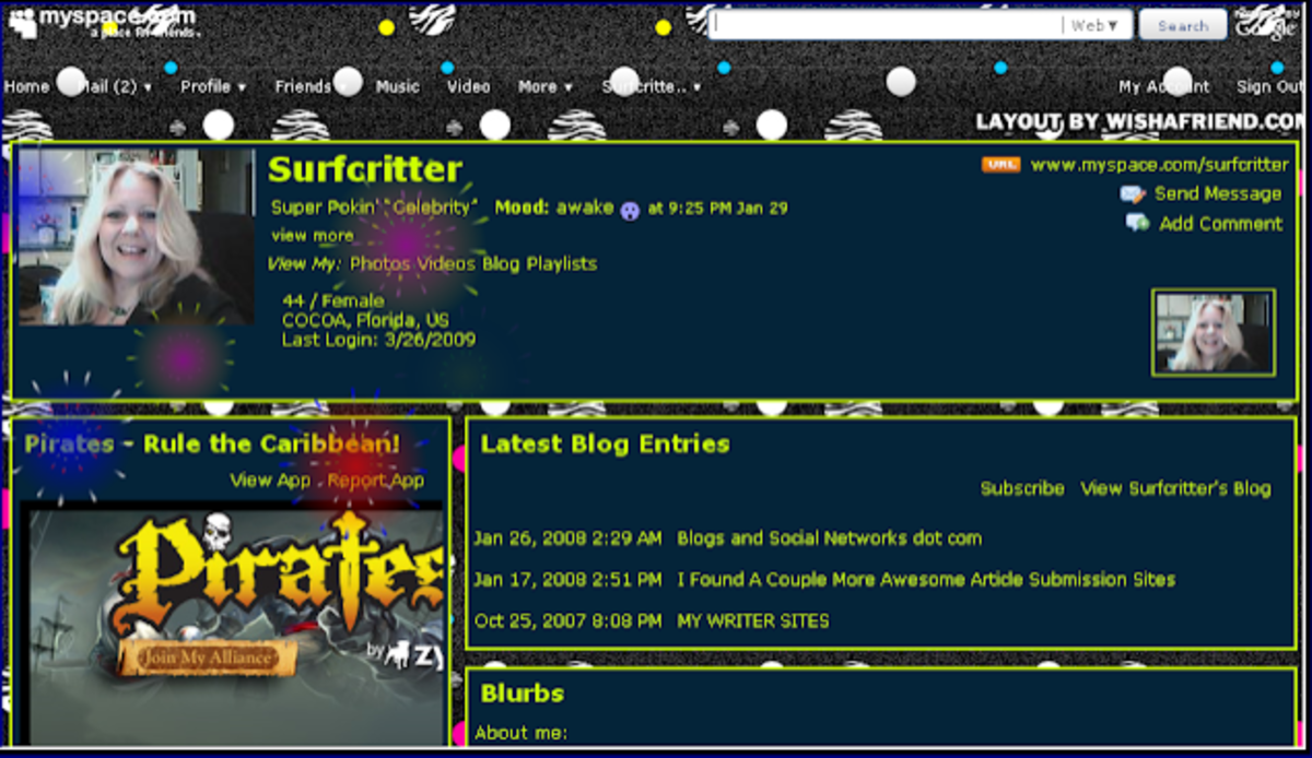Surfcritter's MySpace of Old