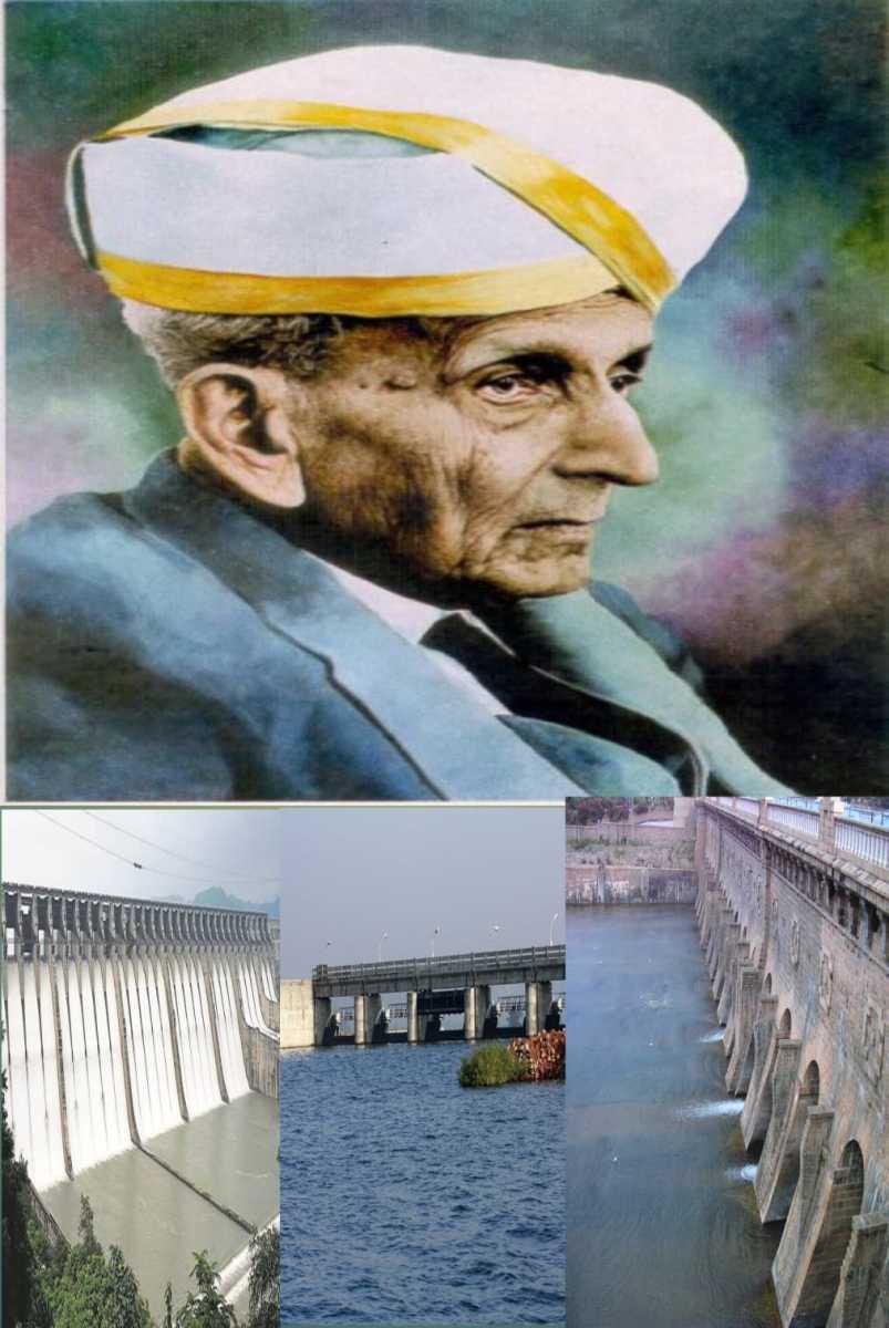 He constructed Khadakwasla dam in Pune,  Tigra in Gwalior and Krishnaraj Sagar Dam at Mandya. Photo Shows.