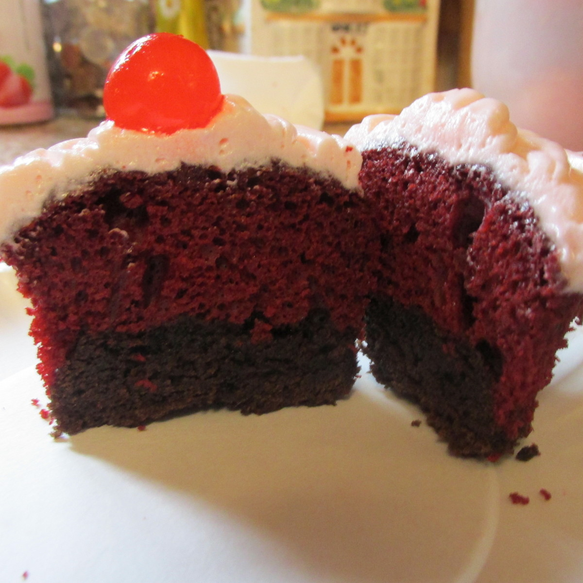 Red Velvet Brownie Cupcakes With Cherry Frosting
