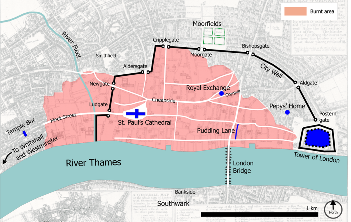 The extent of the Great Fire of London's  damage between 2nd-5th September 1666.
