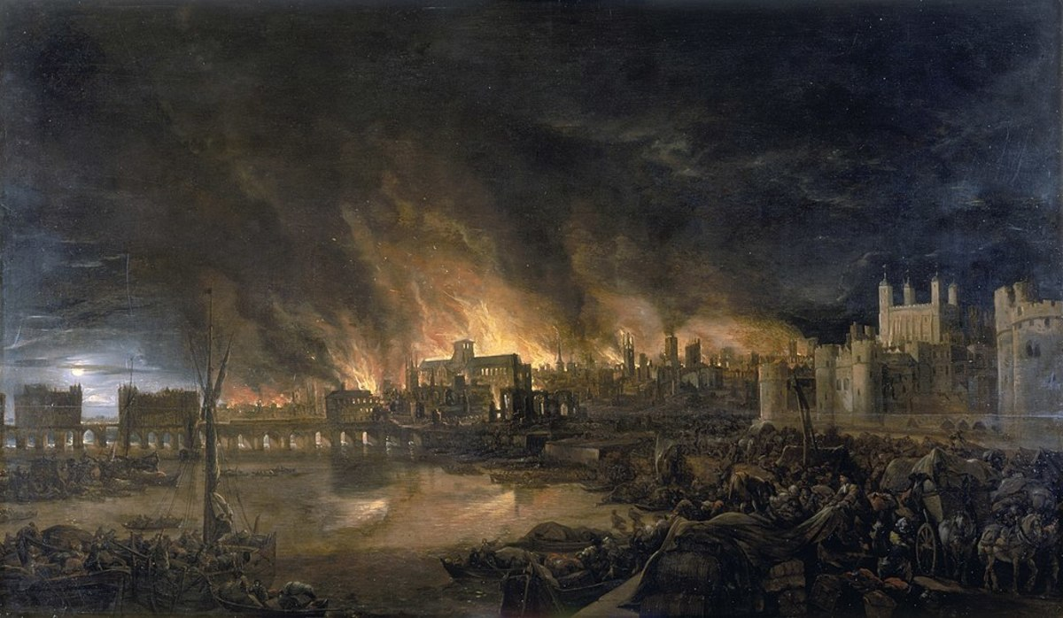 The Great Fire of London. Unknown artist 1675.