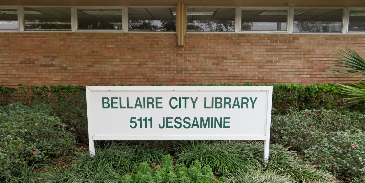 The exterior of Bellaire City Library at 5111 Jessamine Street, Bellaire, Texas 77401