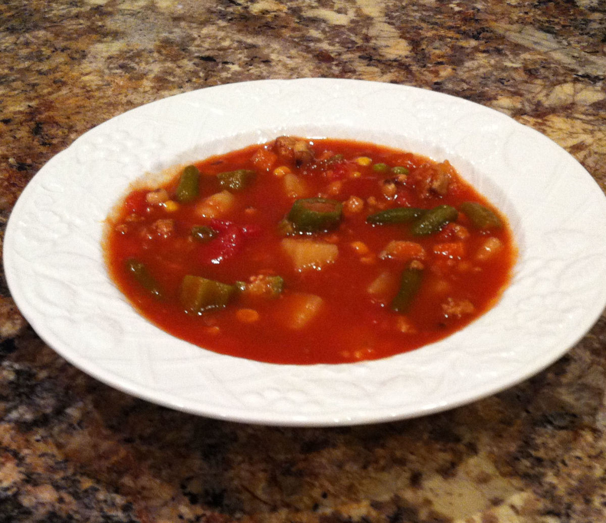 My homemade vegetable soup. I believe this batch included ground turkey, but you can easily make this vegetarian.
