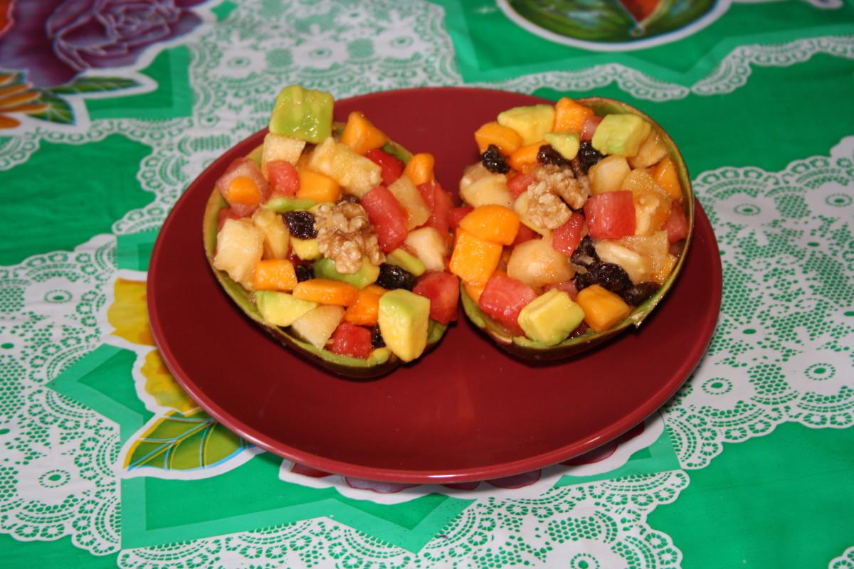 Fruit Snack Mix served  in avocado skin.