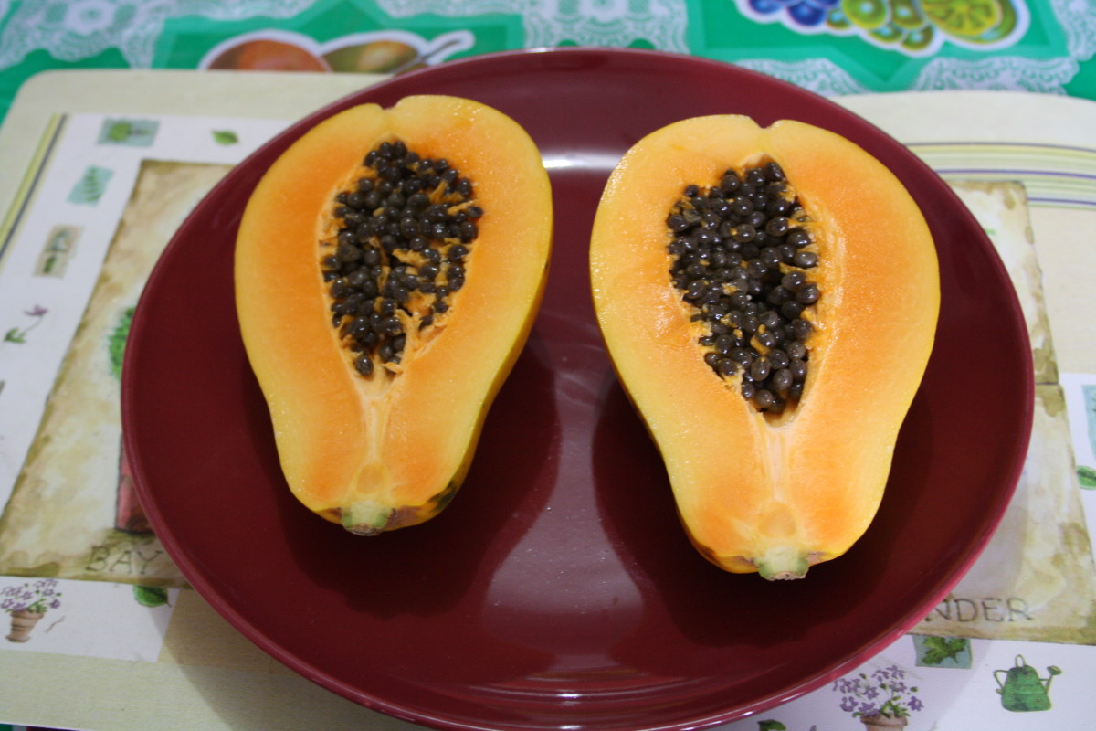 Papaya halves