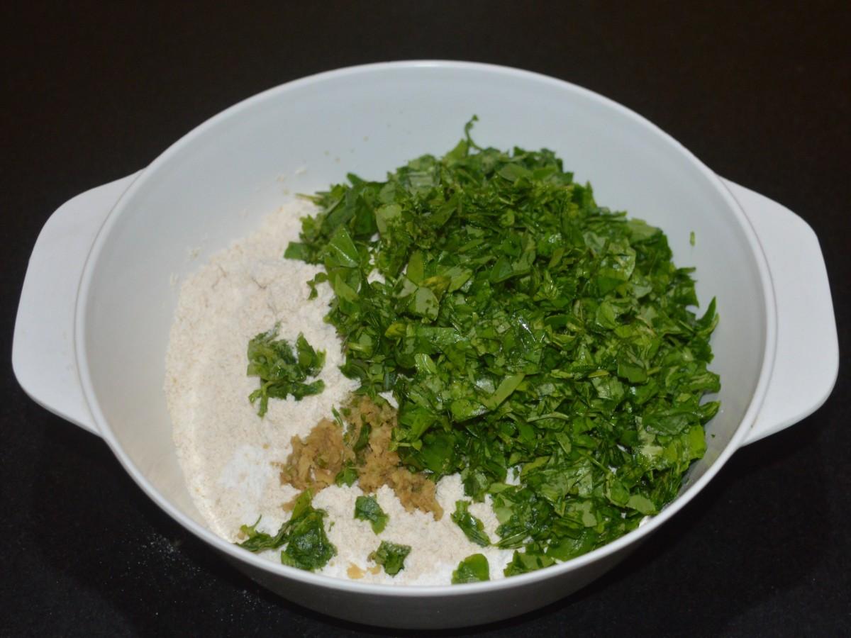 Add chopped methi leaves (fenugreek leaves)