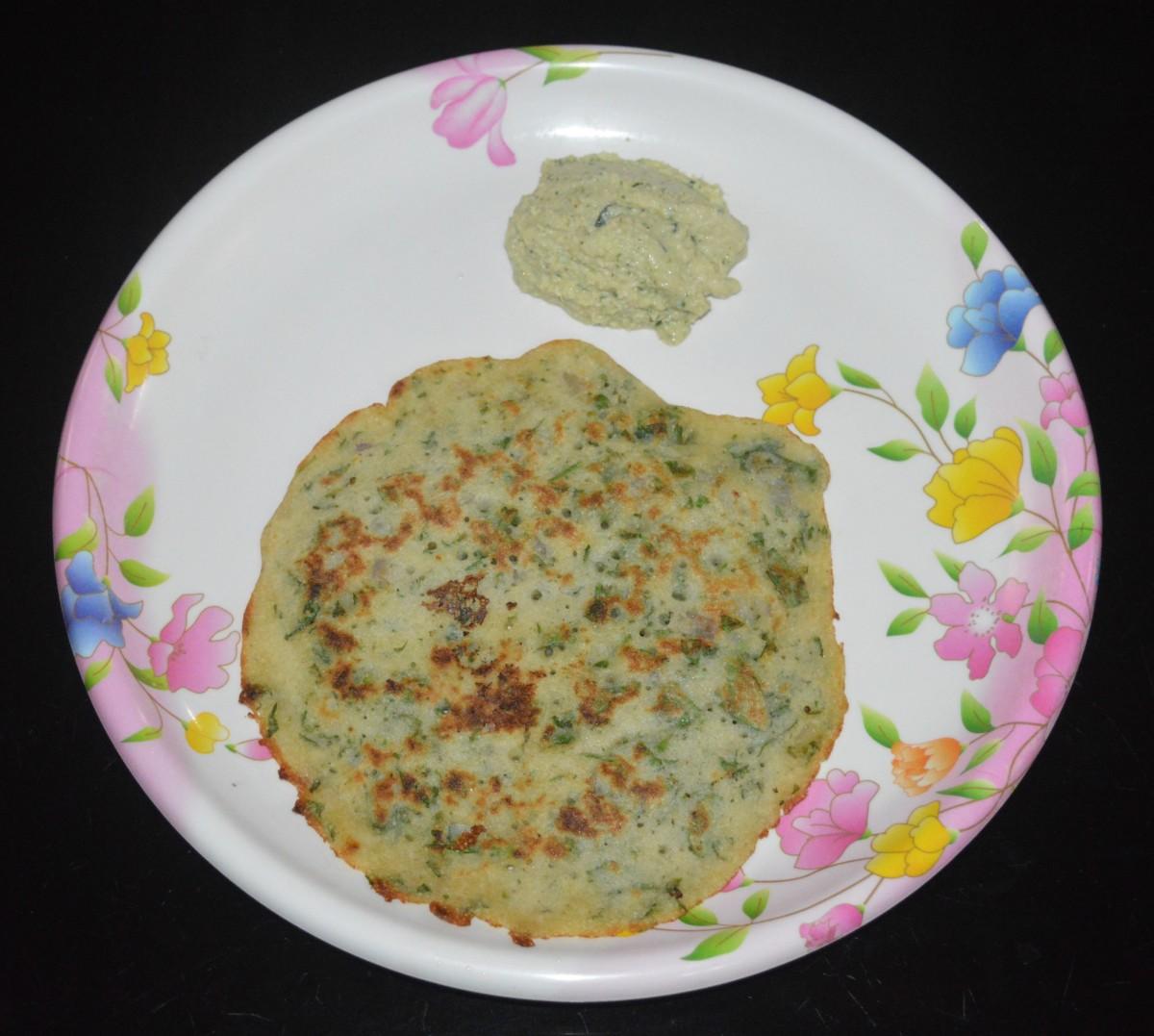 Instant Methi Leaf Dosa (Fenugreek Leaf Pancake) Recipe