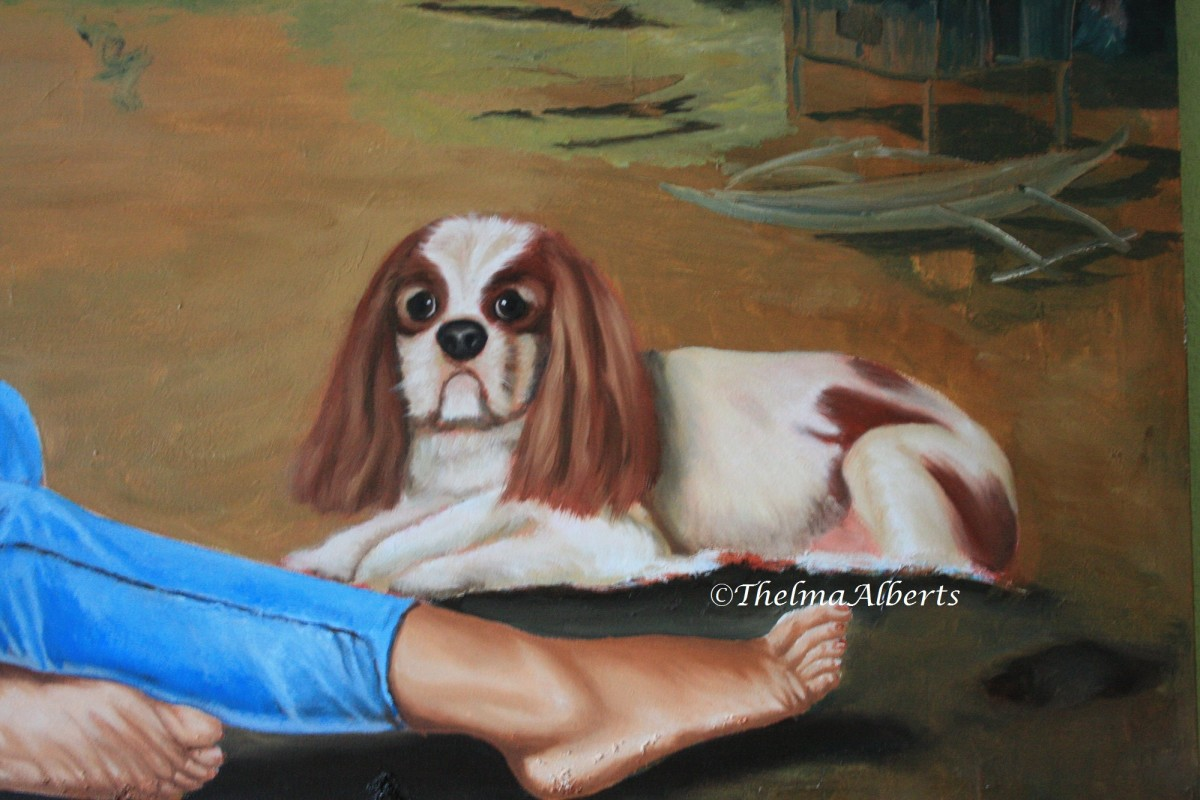 Angus, our cavalier king charles spaniel dog portrait painted by Lothar Alberts.