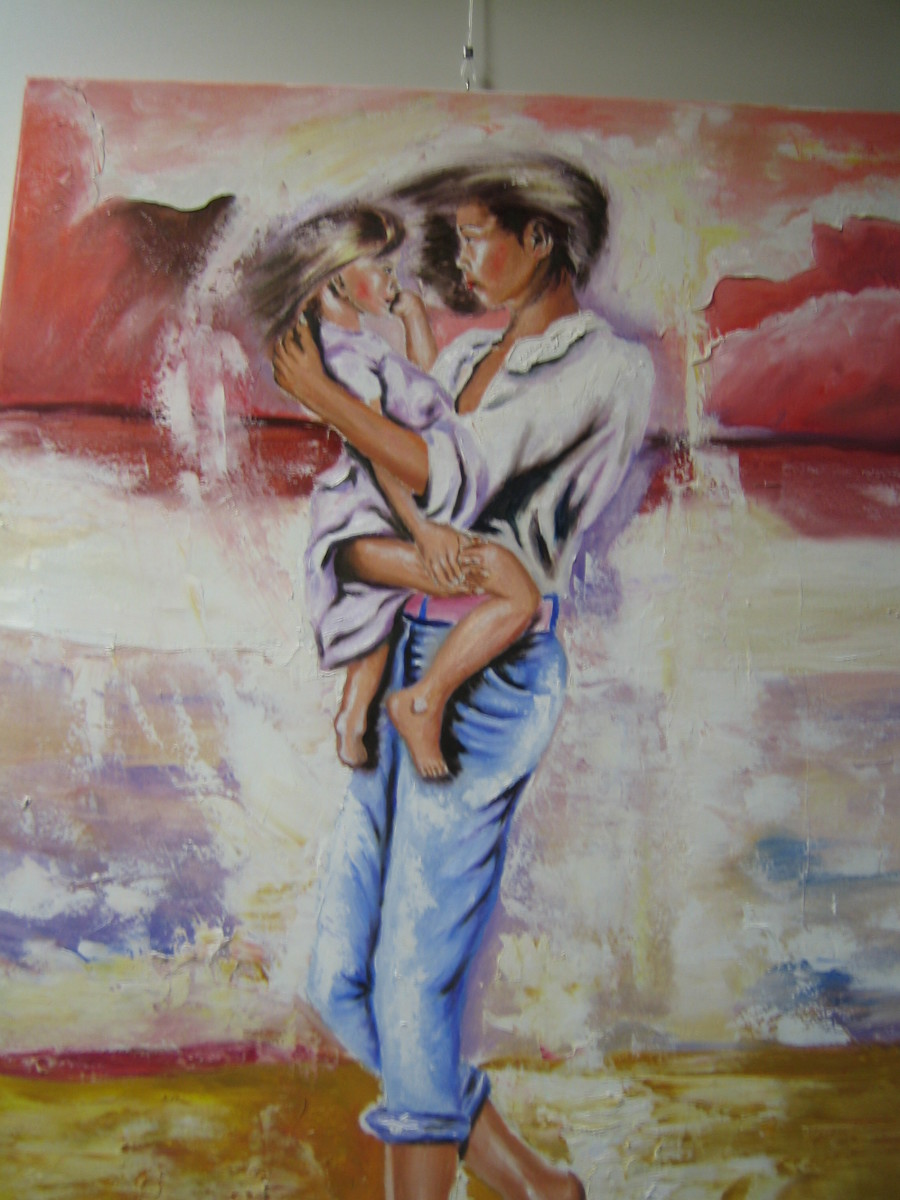 Yvette with her sister, oil painting by Lothar Alberts. Already bought by Y. and W. from The Netherlands.