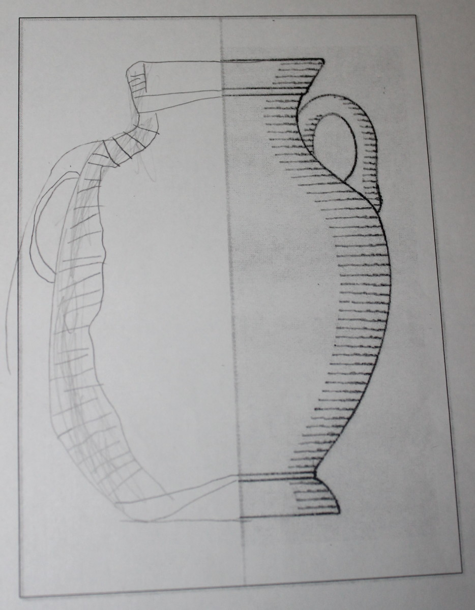 Mirror image Greek vase drawn by a 5 year old