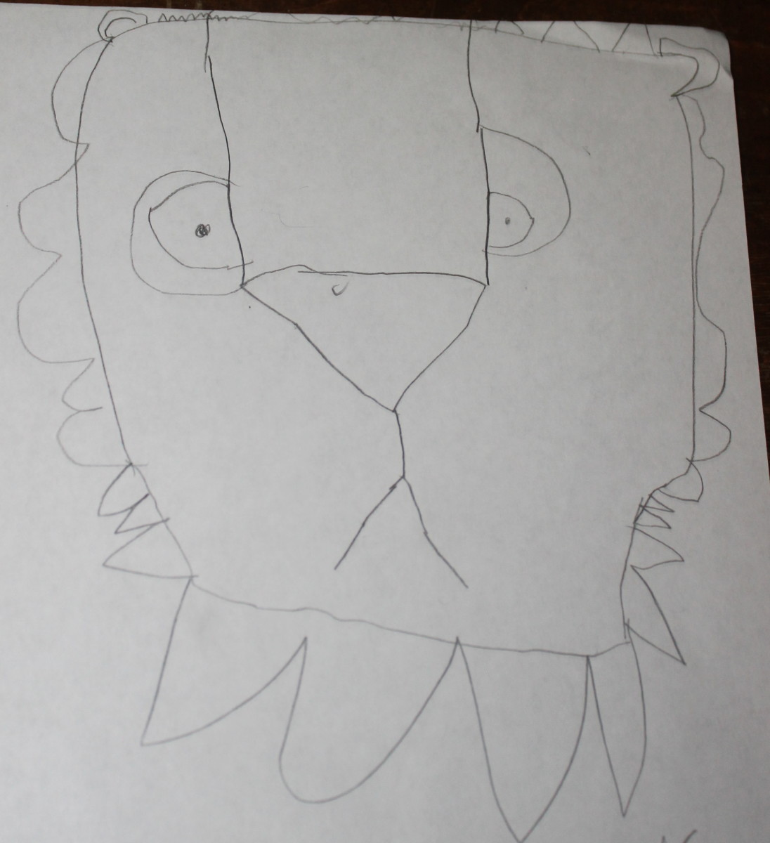 Upside Down Lion drawn by a 5 year old