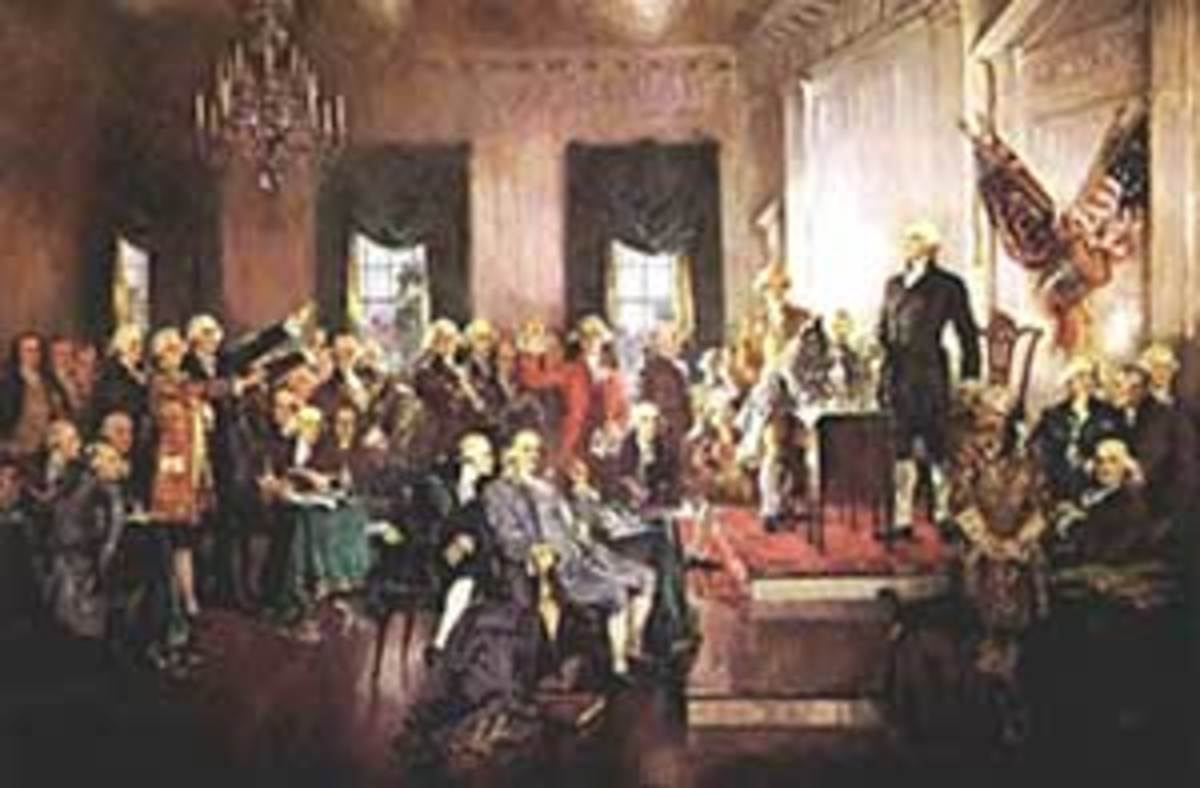 """Delegates to the Philadelphia convention of 1787 sign the newly written Constitution in this 1940 painting. These men are often referred to as the """"Founding Fathers."""" (Painting by Howard Chandler Christy, ctsy. U.S. House of Representatives."""