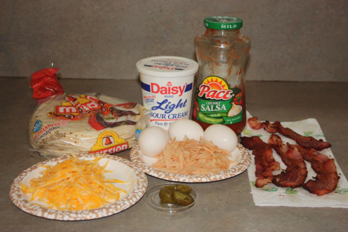 Breakfast burrito ingredients.