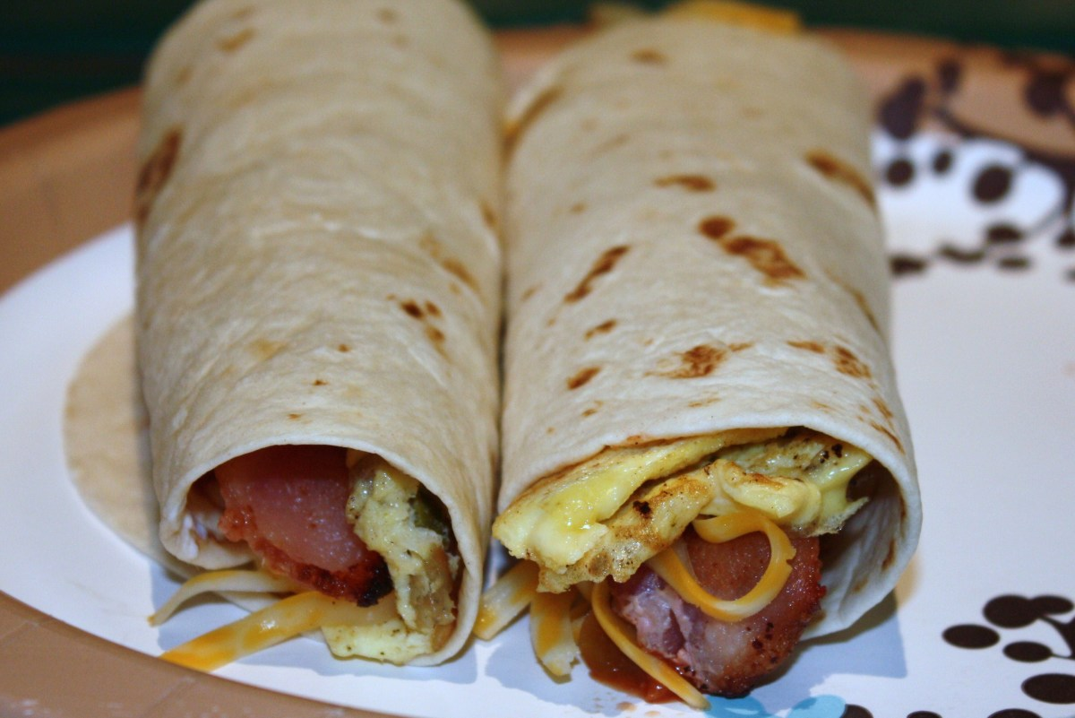 Breakfast burrito with bacon.