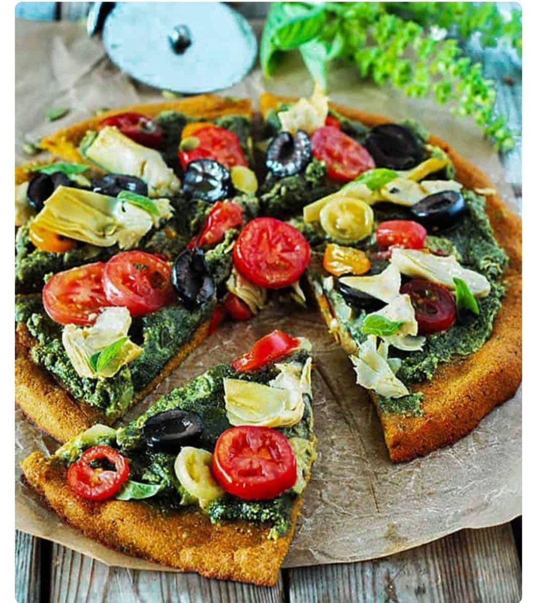Find the recipe for this healthy plant-based, gluten-free pumpkin crust pizza at Michelle Blackwood's Healthier Steps site.