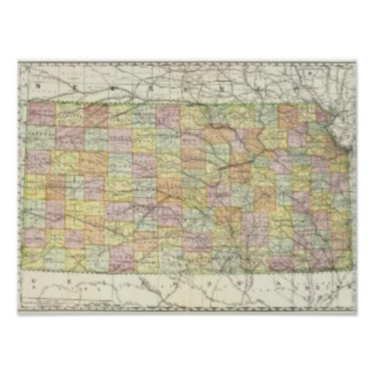 Vintage map of Kansas