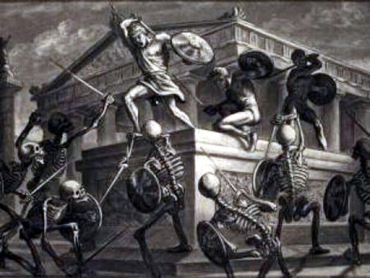 The Skeleton Fight - art by Ray Harryhausen