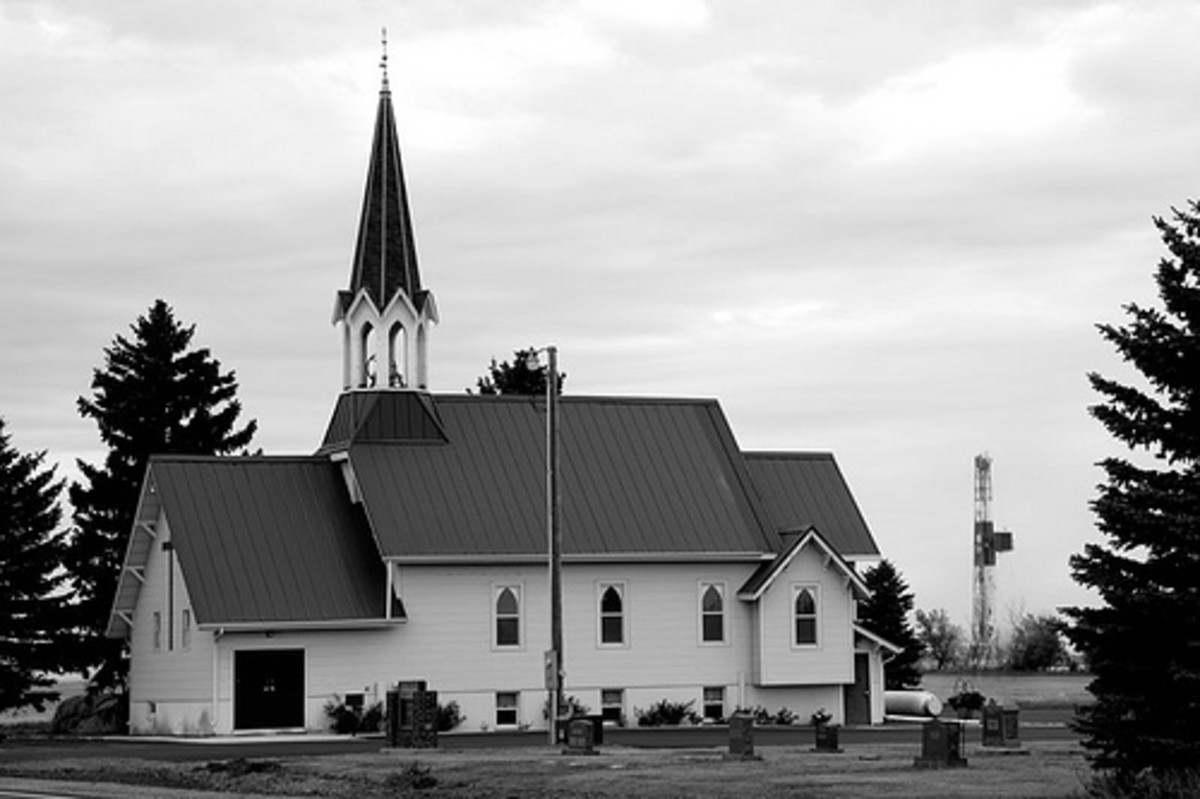 Church in the Bakken Oil Field - note the oil rig in the right rear.