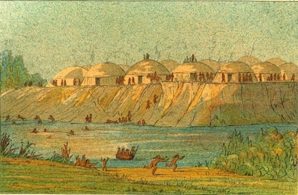 A Hidatsa Nation village in 1832, by the renowned George Catlin.