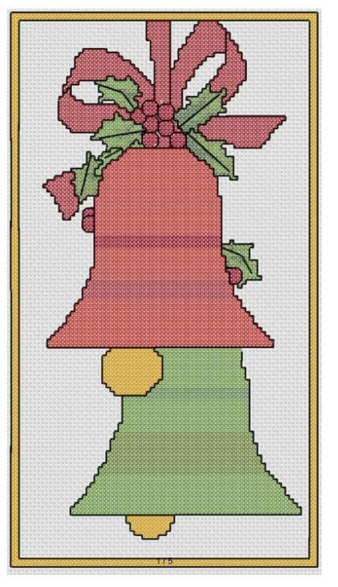 free cross stich pattern Christmas Bells