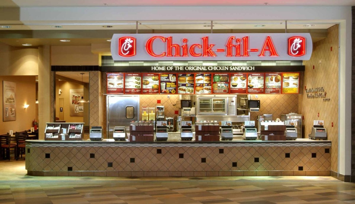 Chick fil A features a nice clean interior