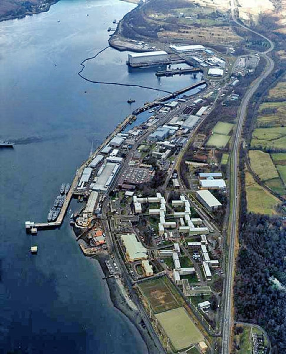 Faslane Naval Base, HMNB Clyde, Scotland. Home of the Vanguard class submarines which carry the UK's current nuclear arsenal.
