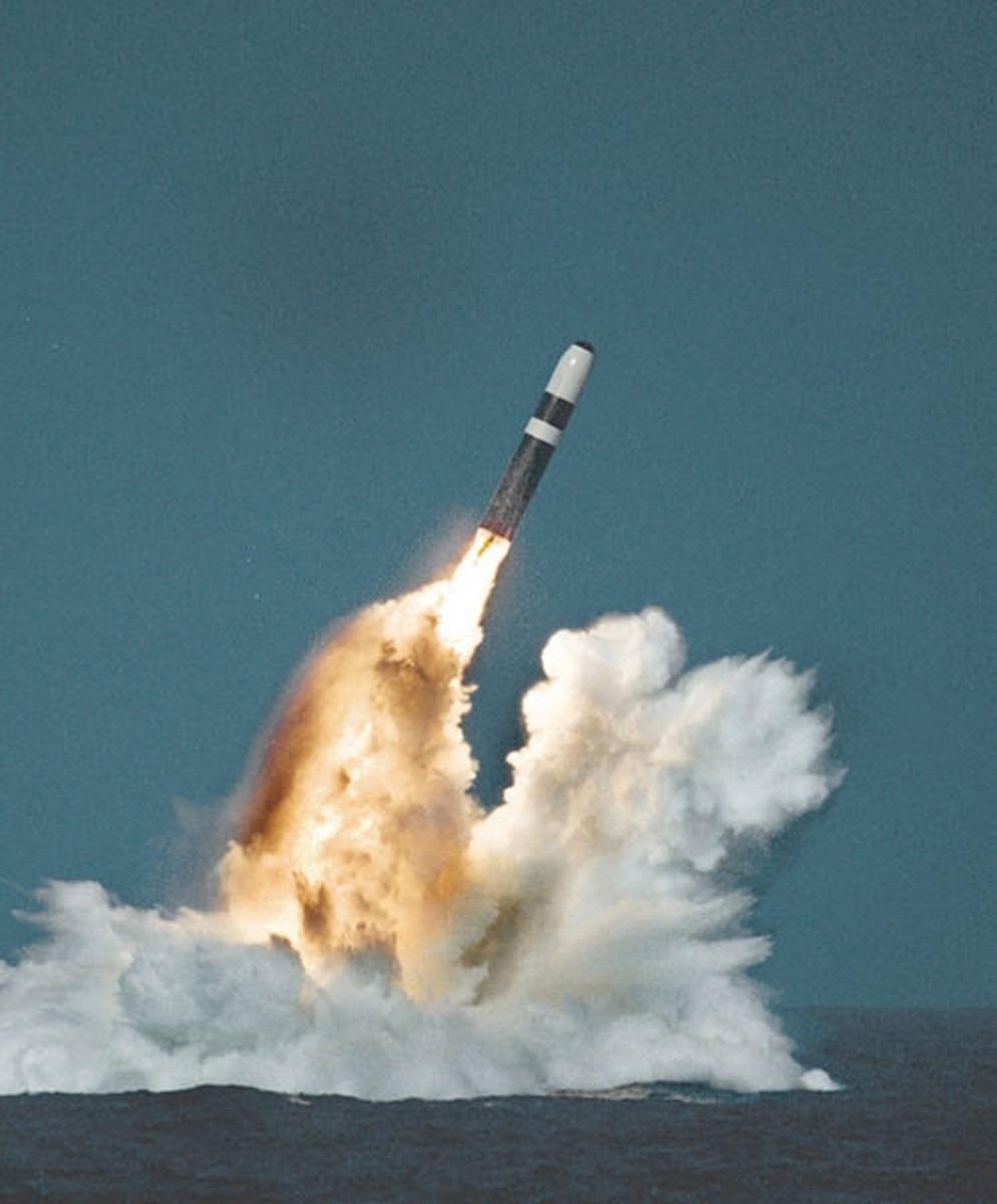 Trident ballistic missile underwater launch.
