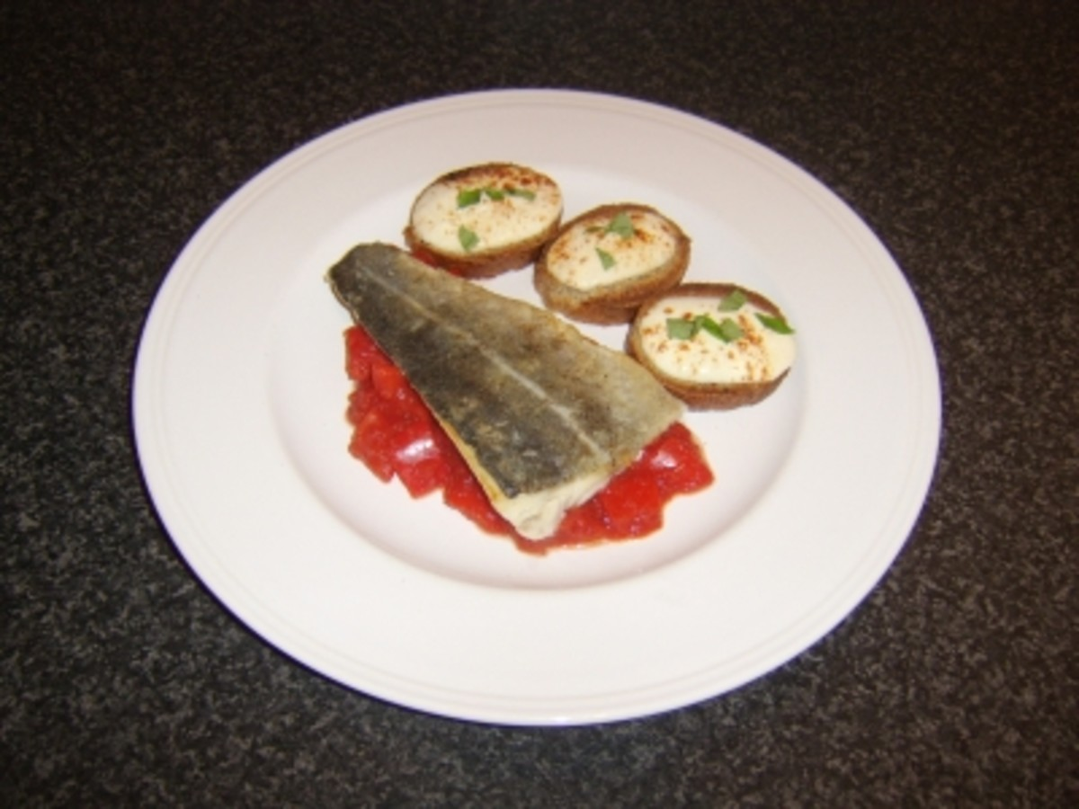 Pan Fried Coley Fillet with Tomato and Pepper Sauce and Mozzarella Croutons