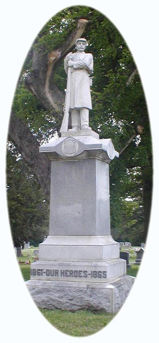 Civil War monument in Burlingame City Cemetery, Burlingame KS.