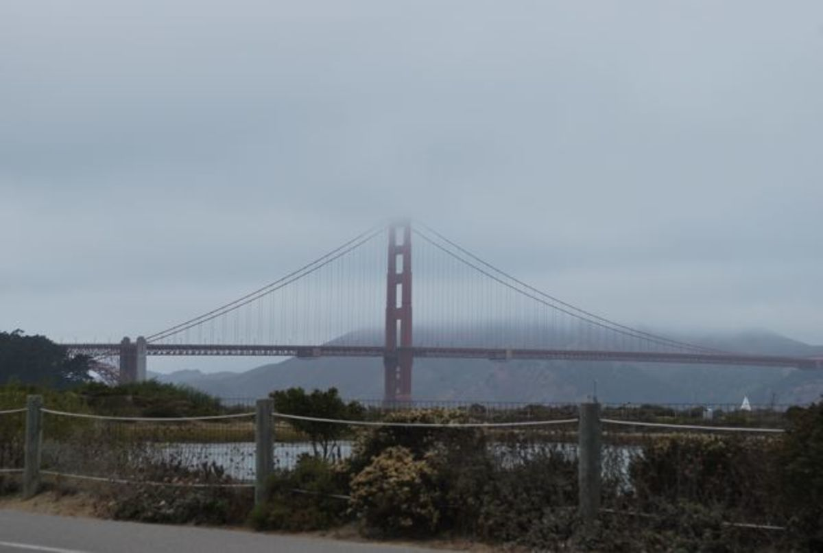 Golden Gate bridge from along the Nike Women's Marathon course