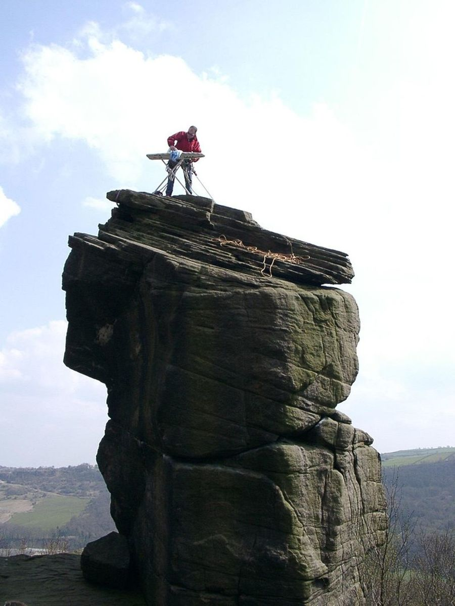 Extreme ironing is an alleged sport in which competitors take ironing boards to dangerous locations to iron clothes.