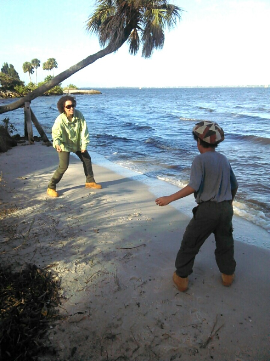 Skipping rocks at Castaway Beach in Palm Bay, Florida