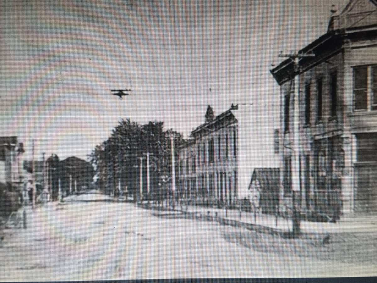 Waterford Main Street looking east from the Fox River bridge circa 1900