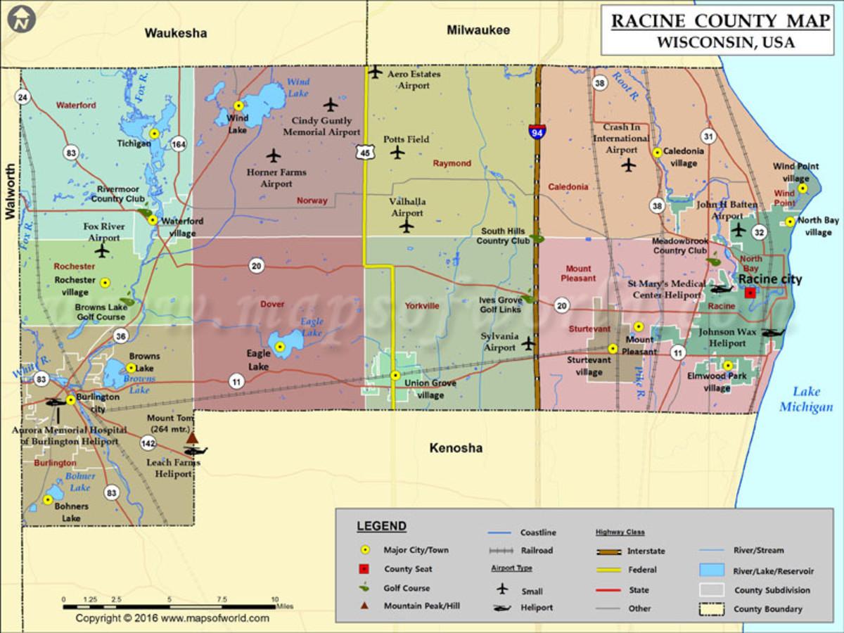 Map of Racine County, Wisconsin