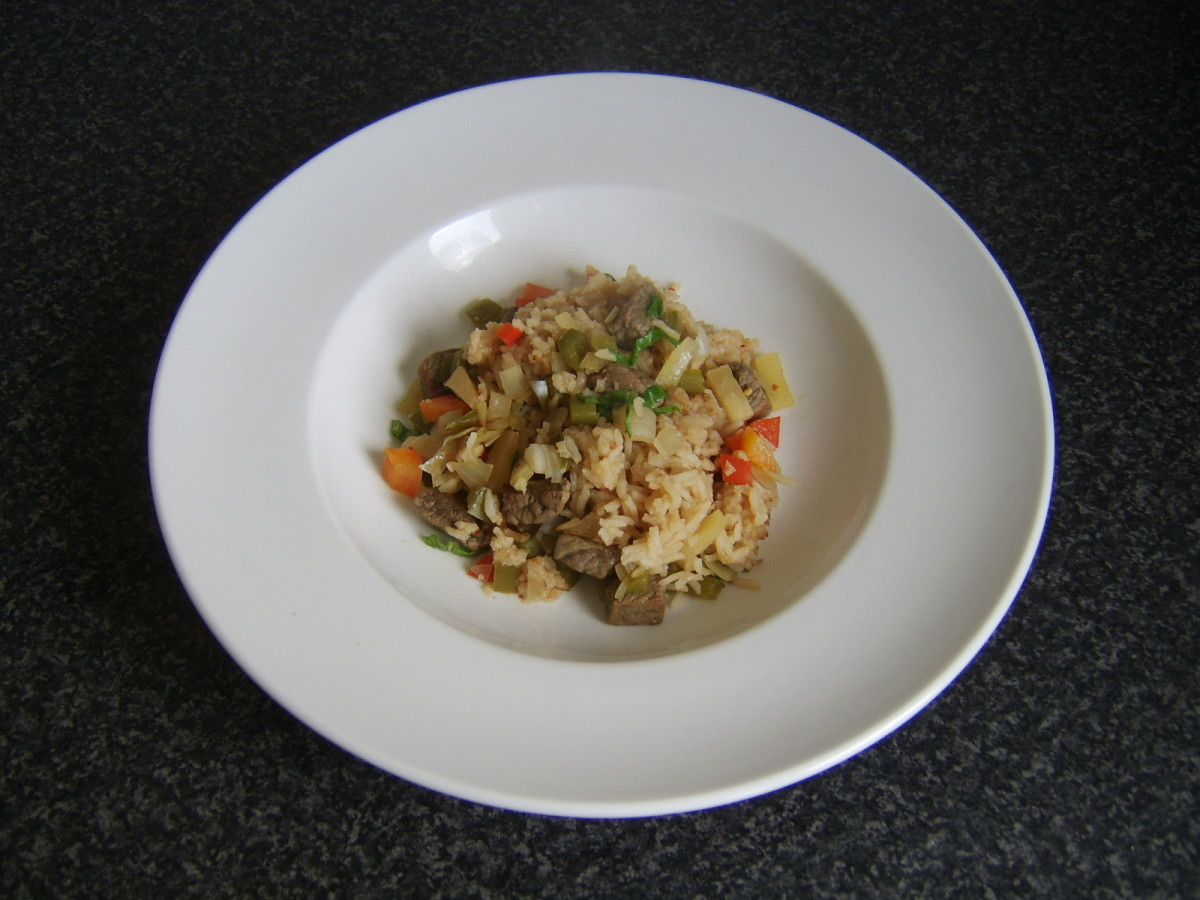 A portion of this spicy beef rice casserole in a serving plate