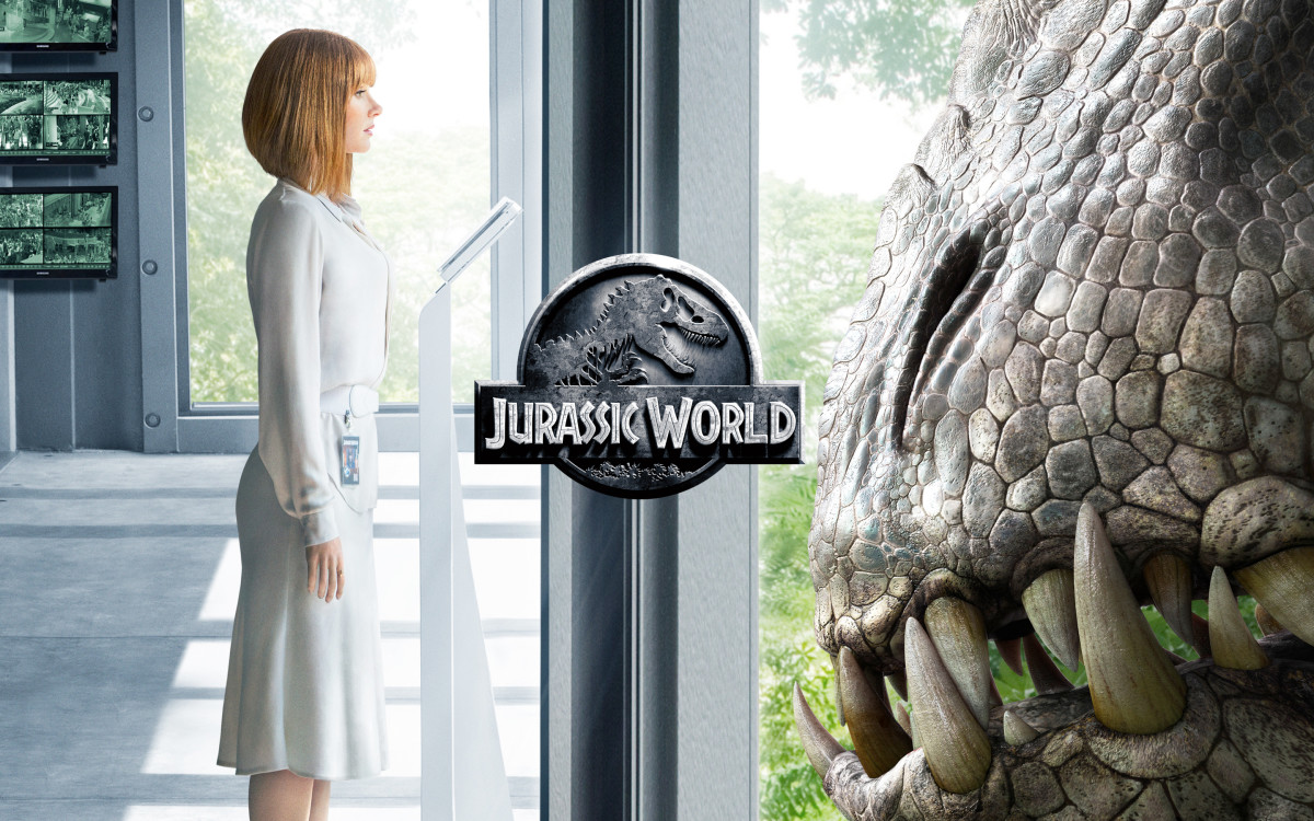 Bryce Dallas Howard, as Claire, facing the new dinosaur