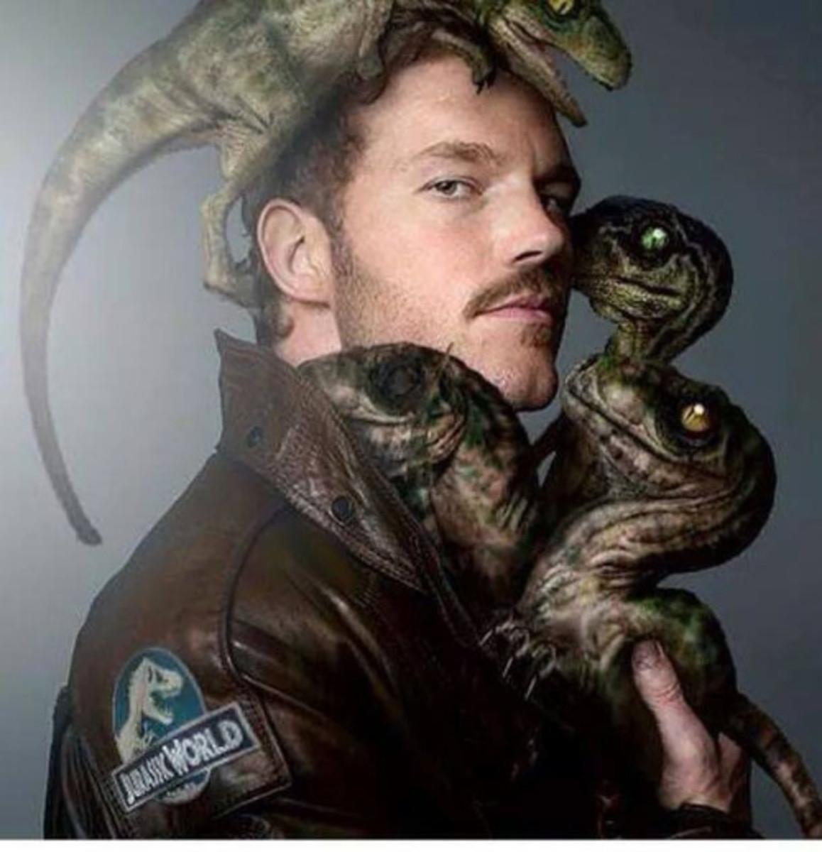 Chris Pratt and his raptor brood via Photoshop