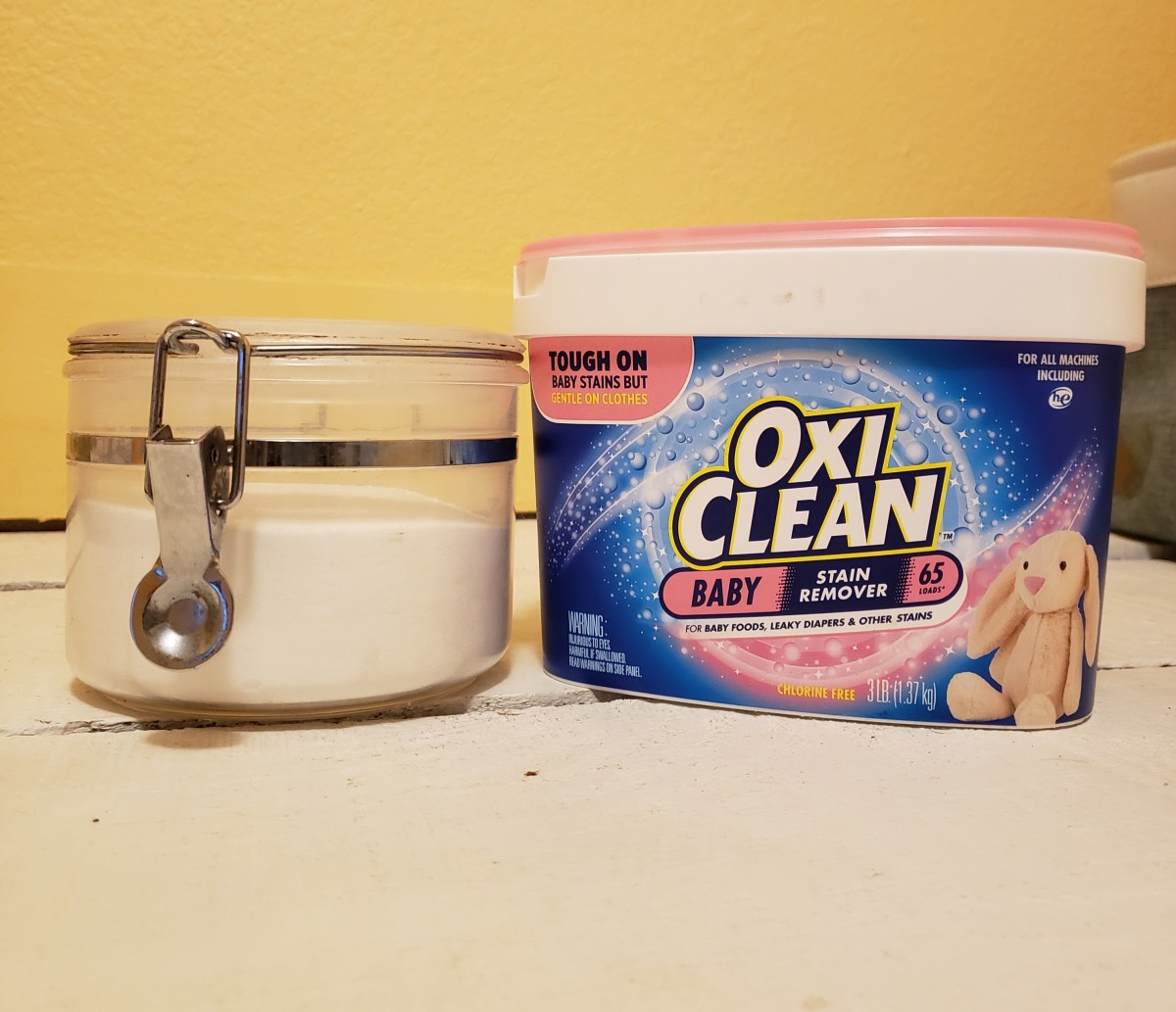 Borax and Oxiclean are my go-to products for softening my hard water and cleaning my cloth diapers.