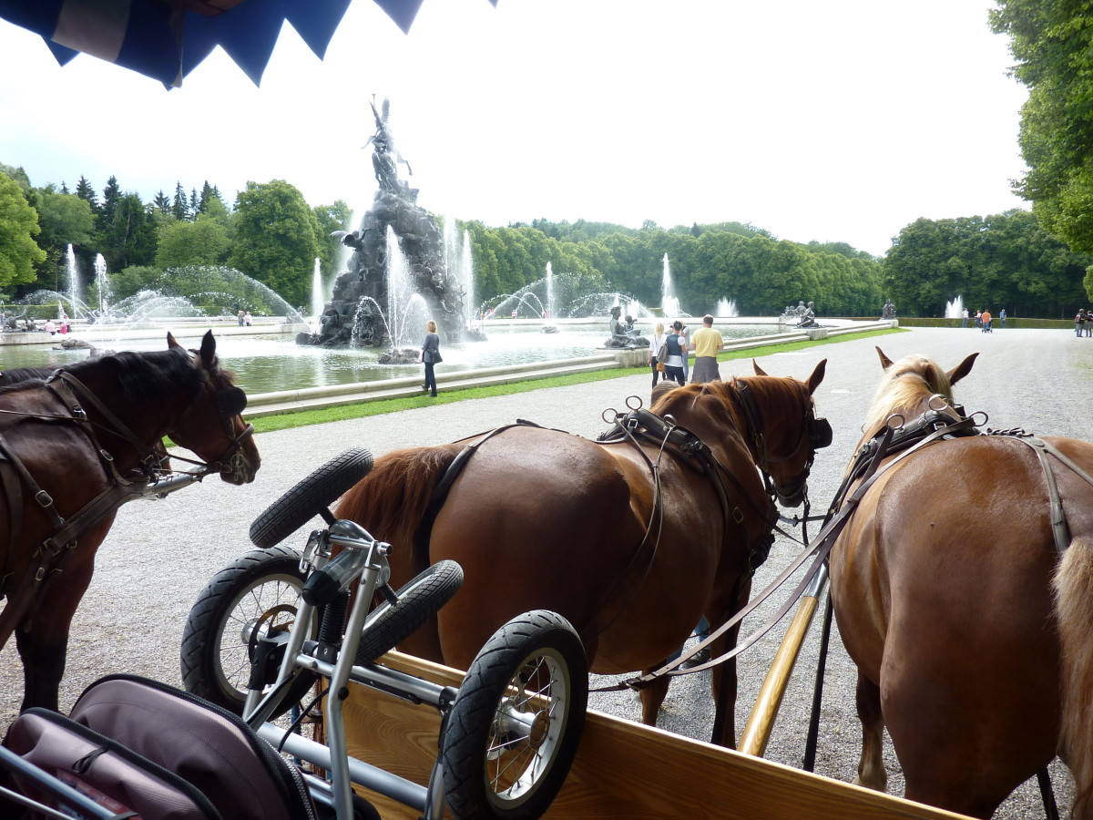 A horse drawn carriage in Herrenchiemsee, Germany.