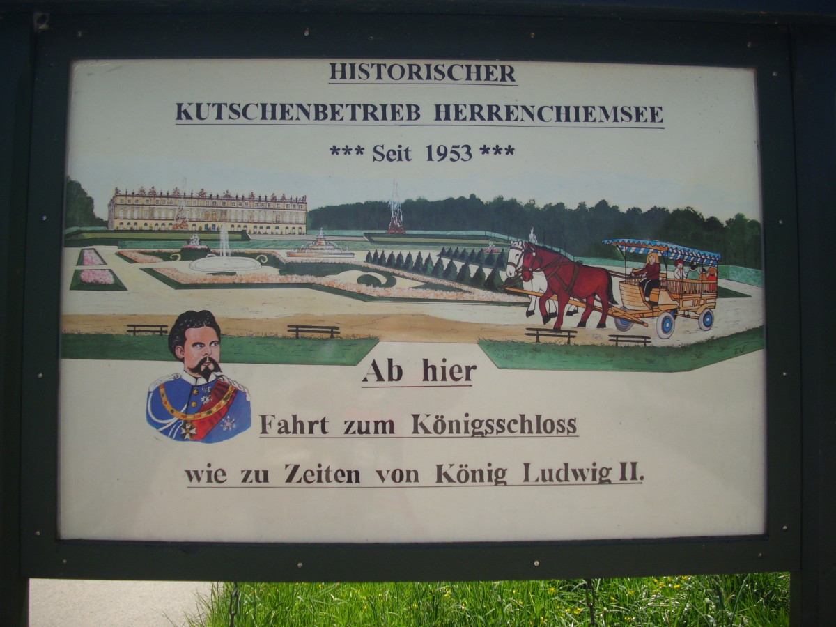 The poster of the historical carriage trip inside the park of Herrenchiemsee Palace. From there, the carriage trip with the horses for the tourist  started.