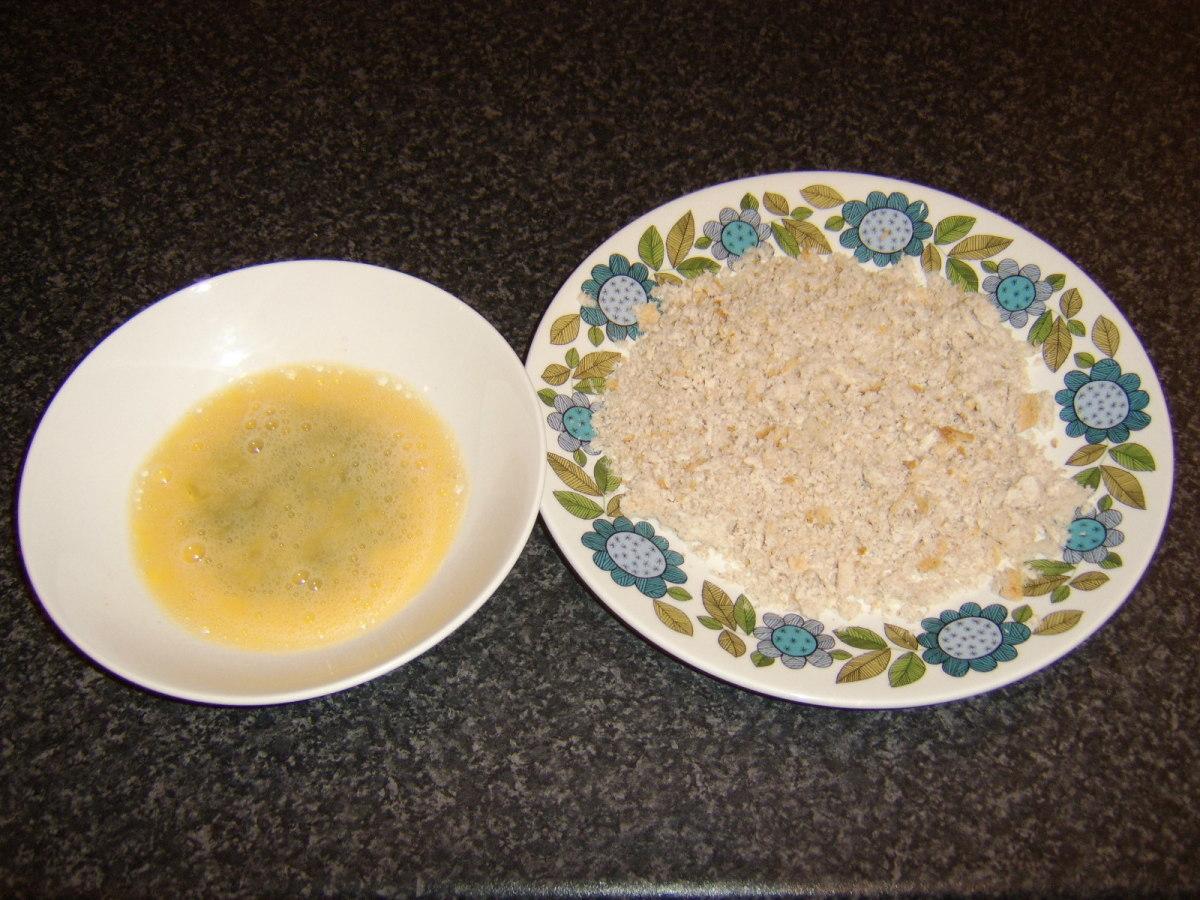 Beaten Egg and Fresh Breadcrumbs