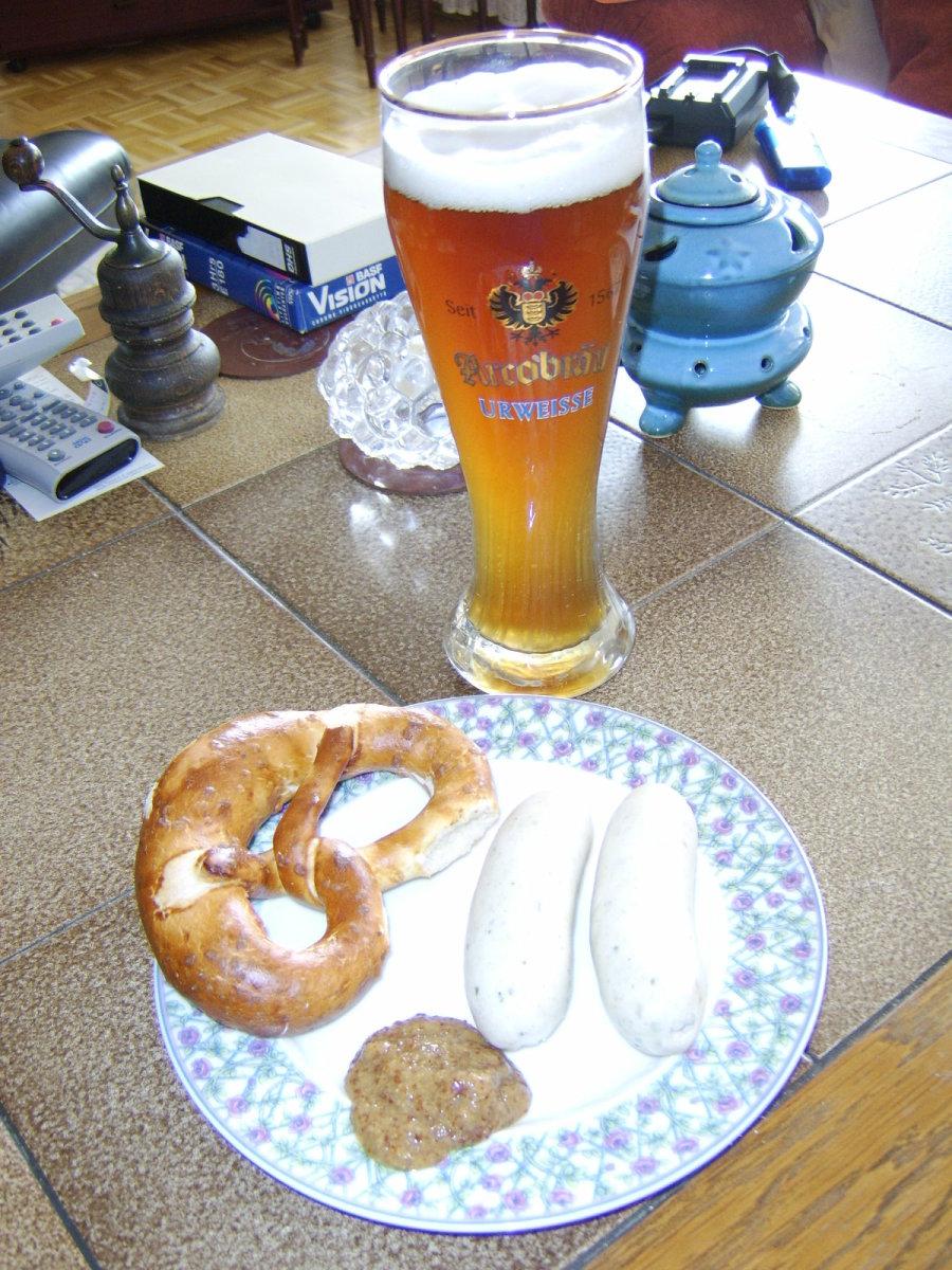 Breakfast of Weisswurst, Bretze and Weissbier
