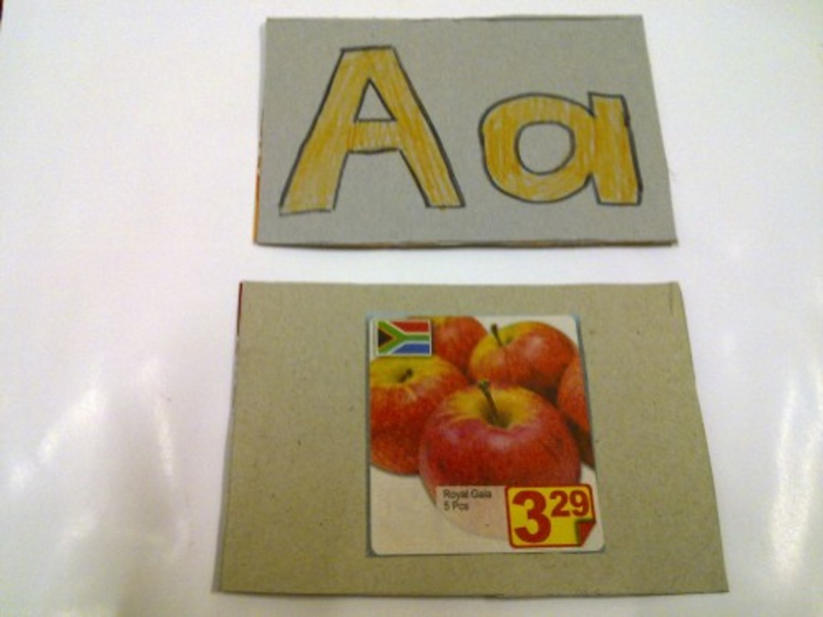I made these flash cards from fliers and milk powder boxes