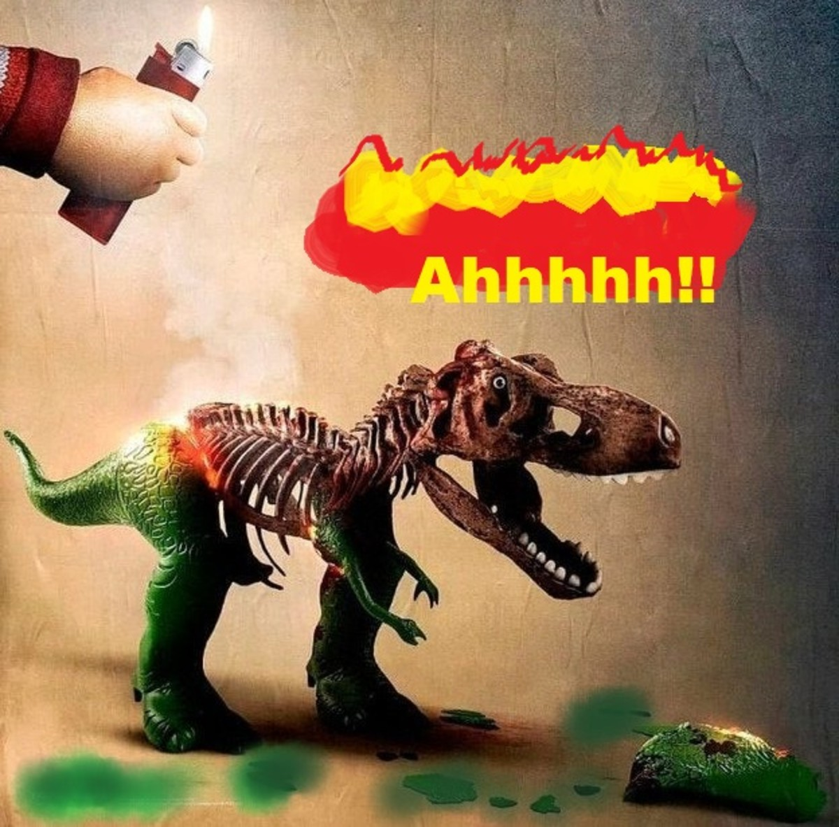Buddi seems to be melting Toy Story's T-Rex. I remember those wax and plastic dinosaurs - I had a bunch!